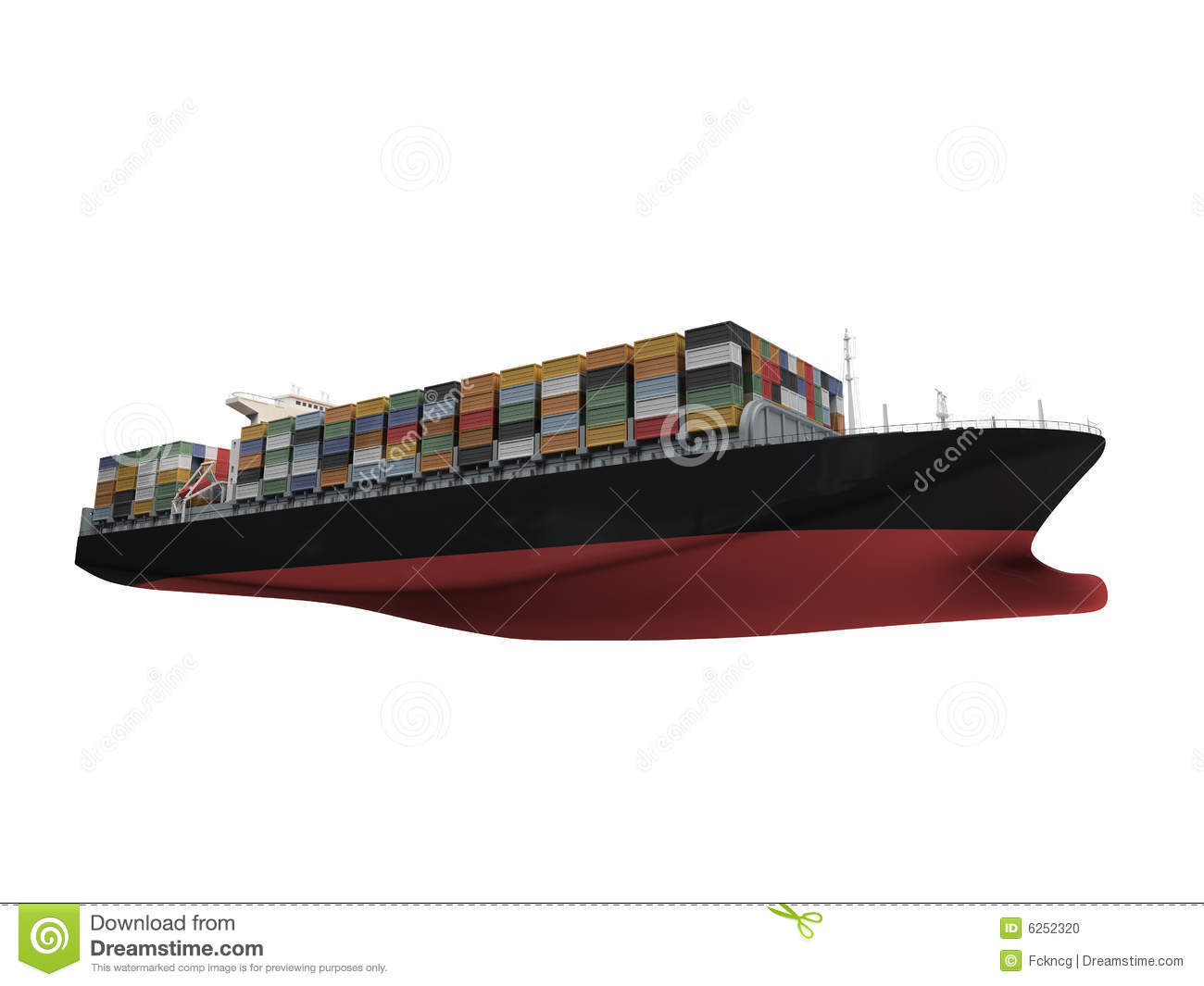 container ship isolated front view stock photo image