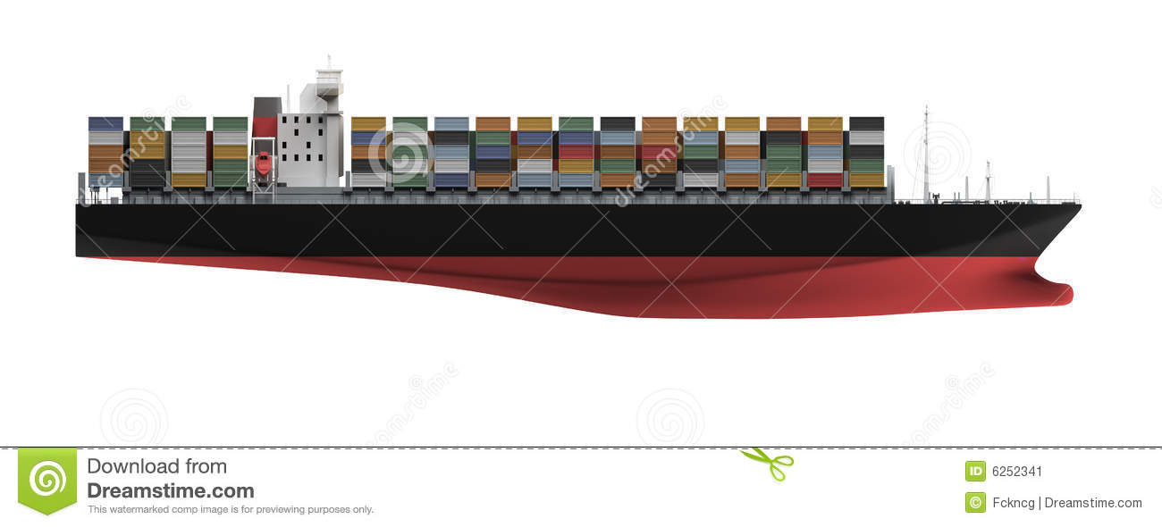 Container Ship Isolated Front View Stock Illustration ...