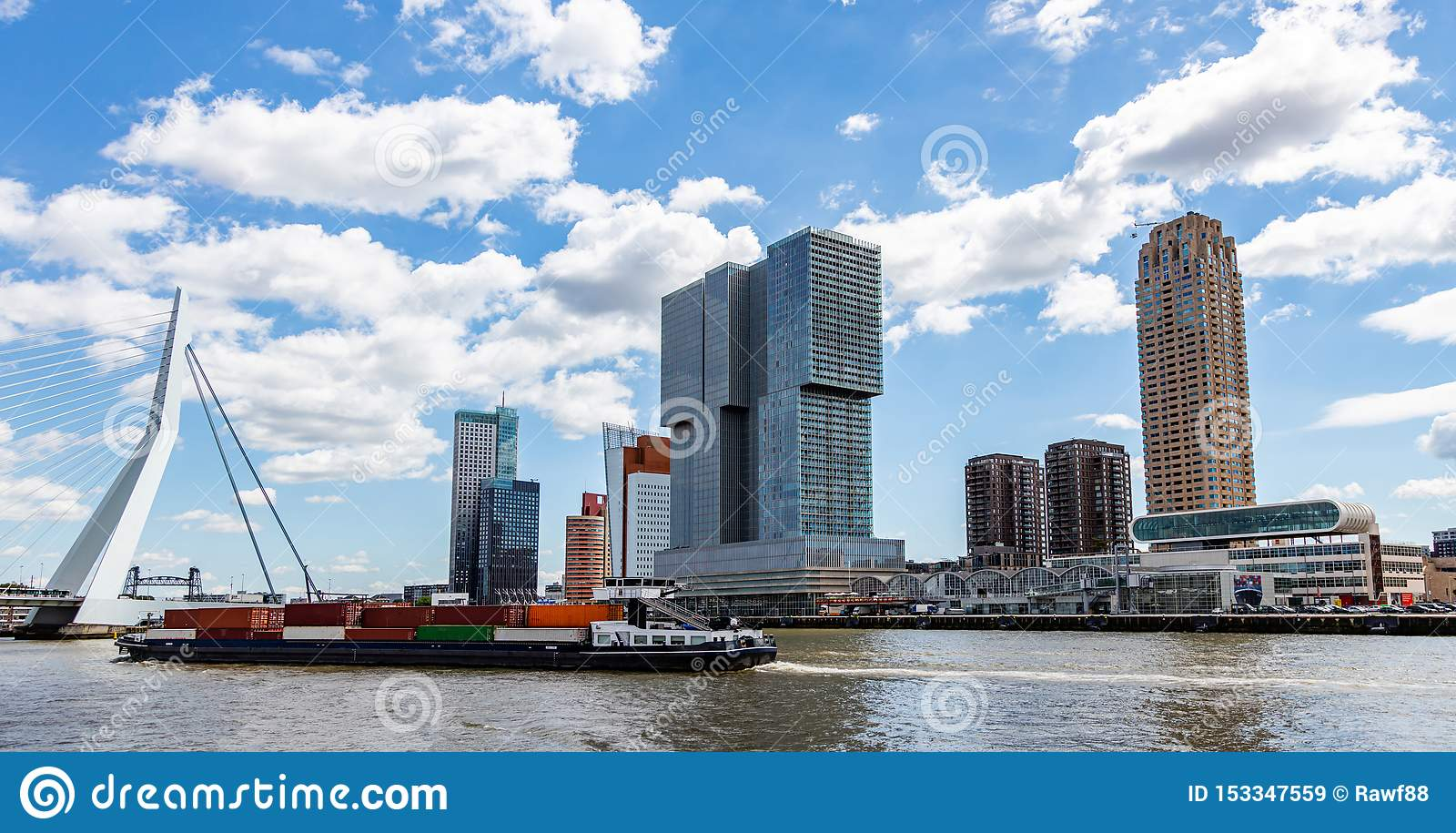 Container Ship And Logistics Against Rotterdam Cityscape ...