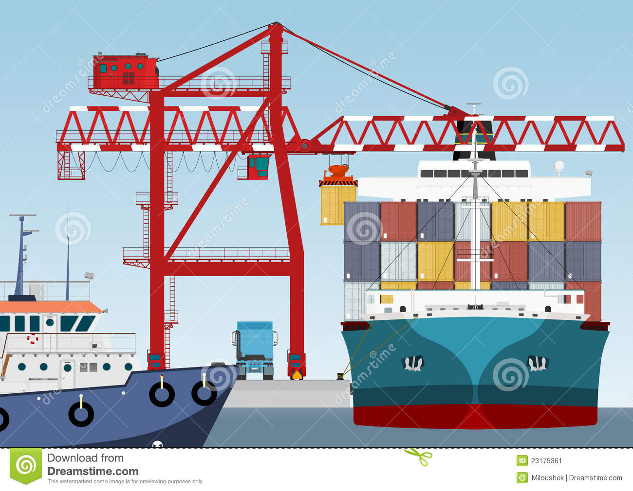 Container ship in port stock image image 23175361 for Porte conteneur
