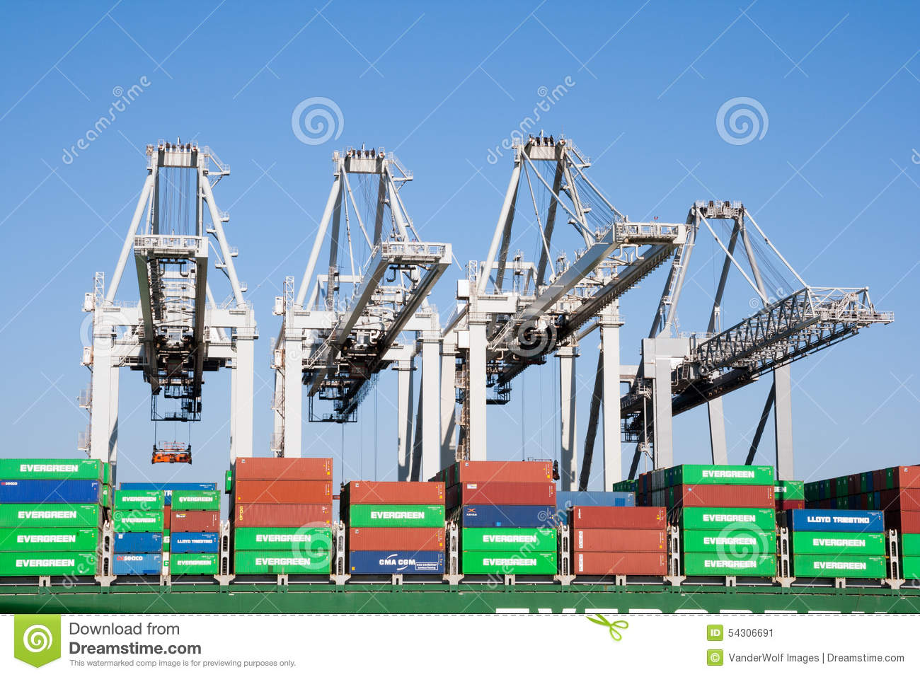 Container ship port cranes editorial photo  Image of