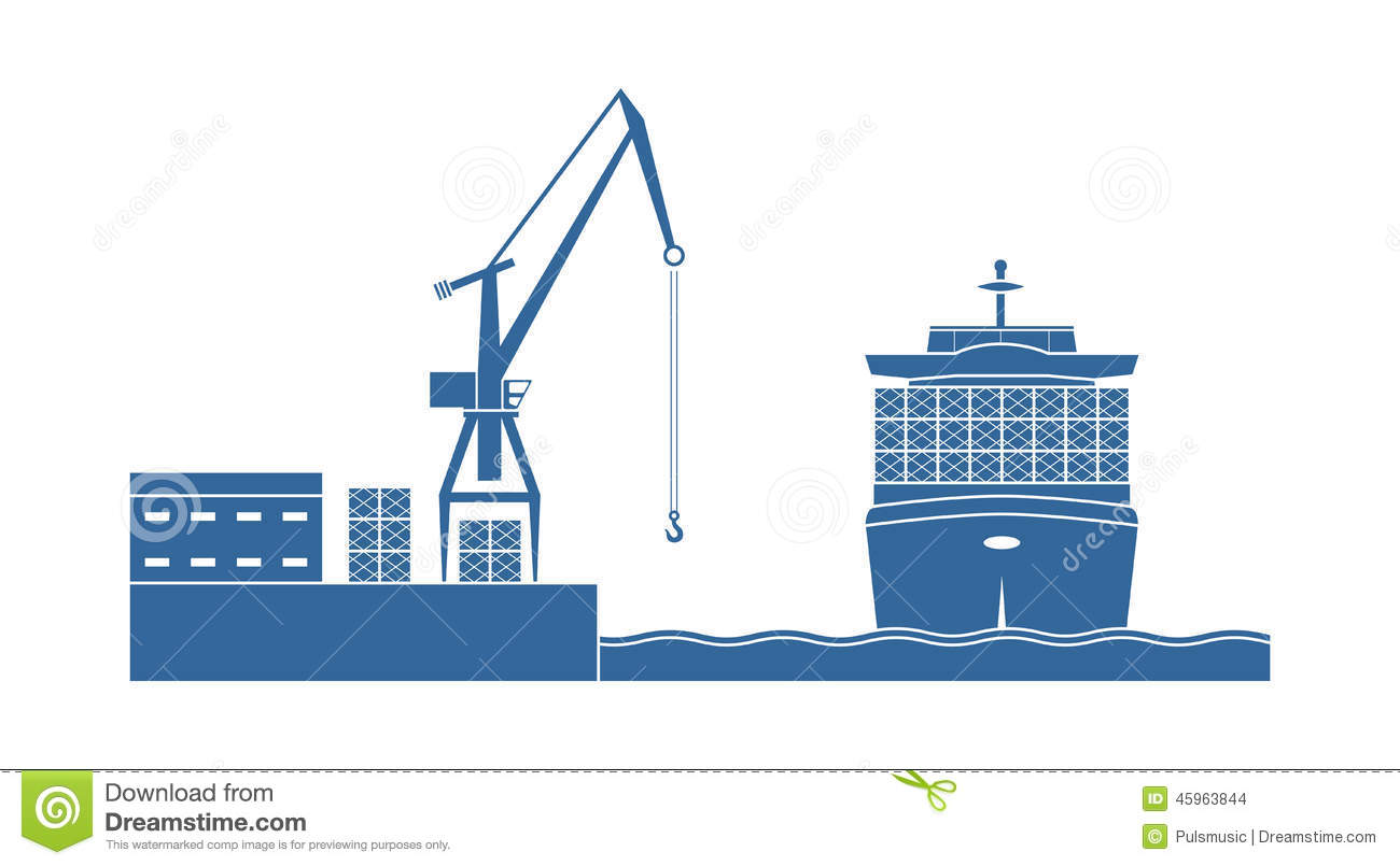 Container ship in the port stock vector. Image of figures ...