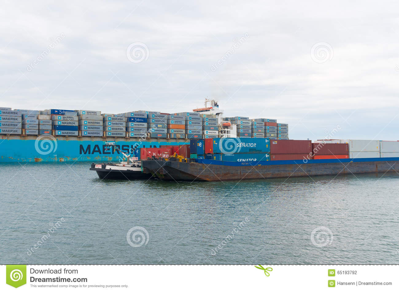 Container Ships In Rotterdam Editorial Photography - Image