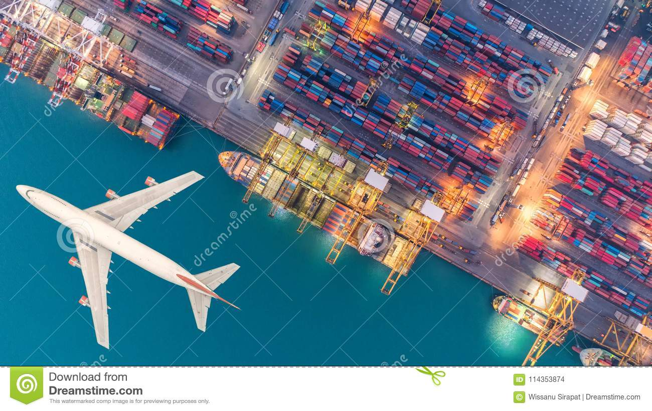 Container ships and transport aircraft in the export and import