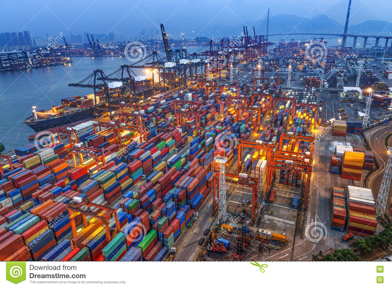 Container Terminal In Hong Kong At Night Stock Image