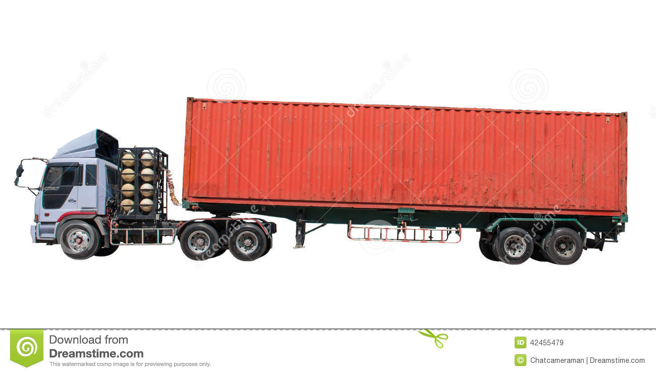 Images For Shipping Container Trailer >> Container On Trailer Truck Stock Image Image Of Load 42455479