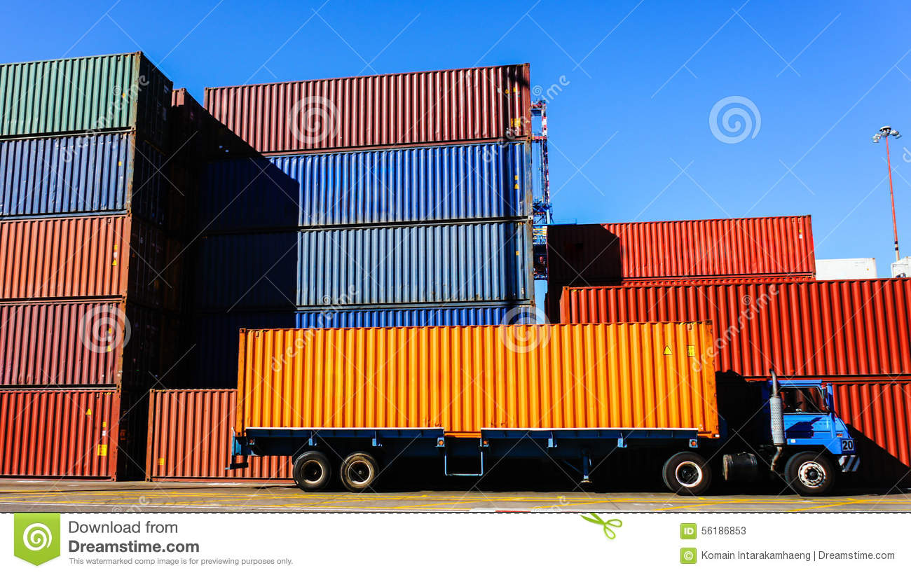 Container and Truck in the Port