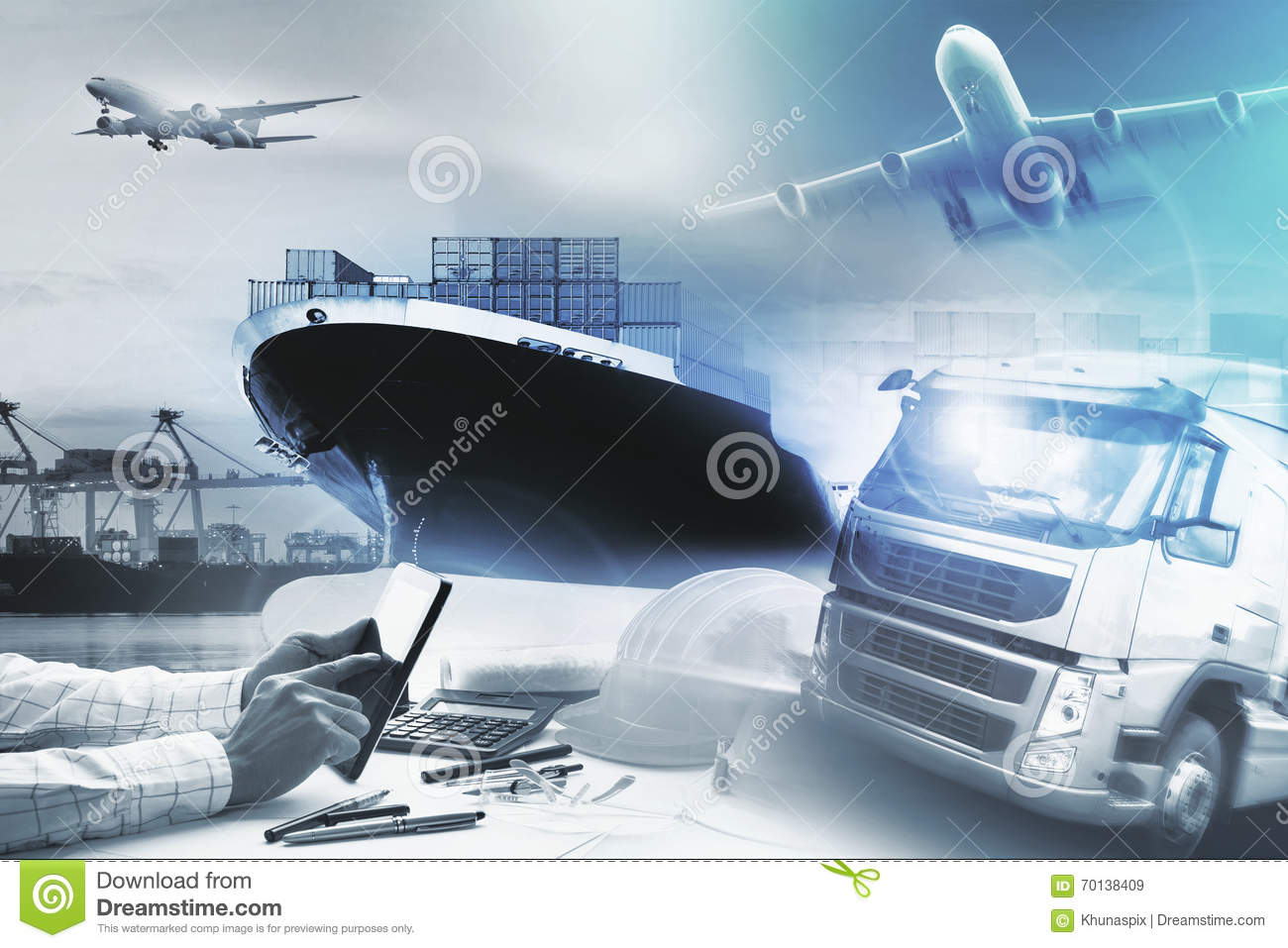 Container truck ,ship in port and freight cargo plane in transpo