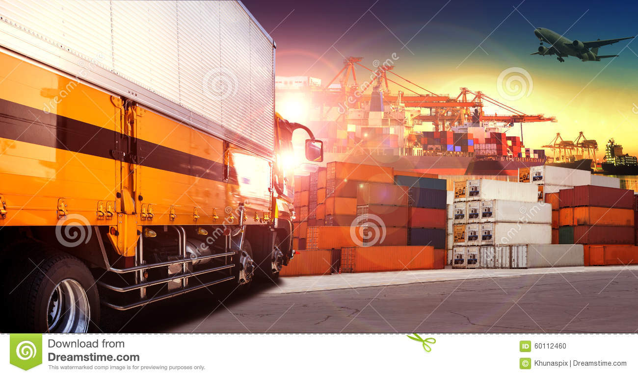 Container truck in shipping port ,container dock and freight car