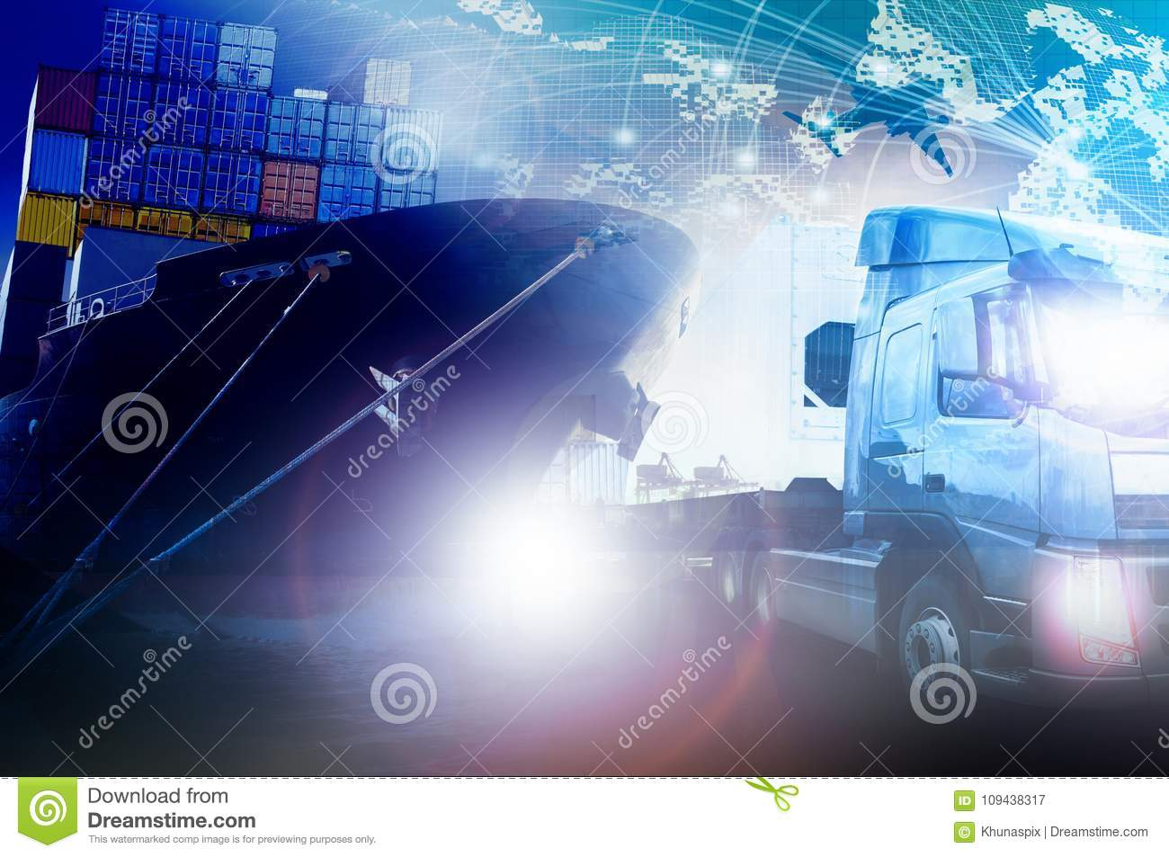 Container truck and shipping ship for freight and cargo logistic