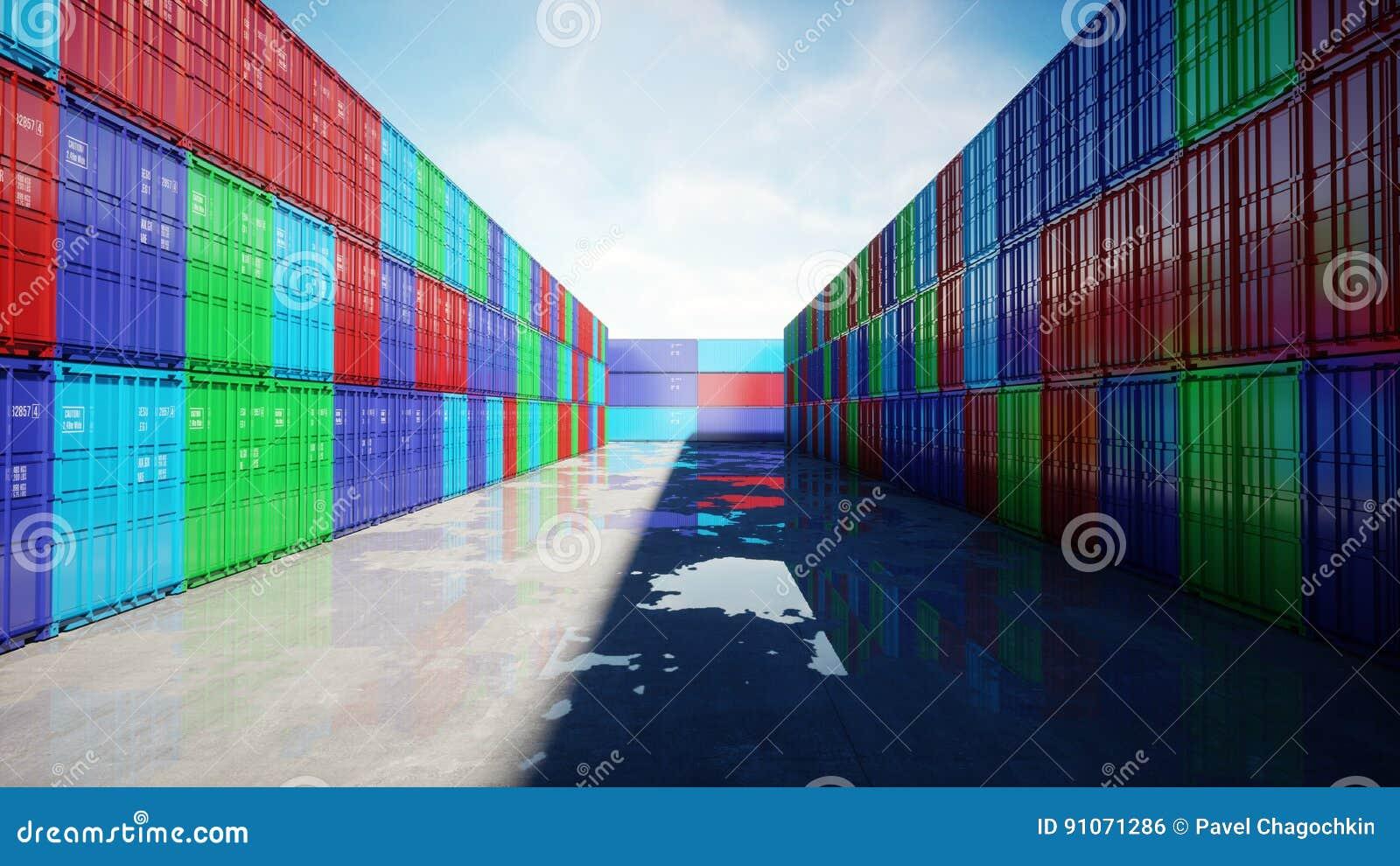 Containerdepot, pakhuis, zeehaven Aerilmening De containers van de lading Logistisch en bedrijfsconcept het 3d teruggeven