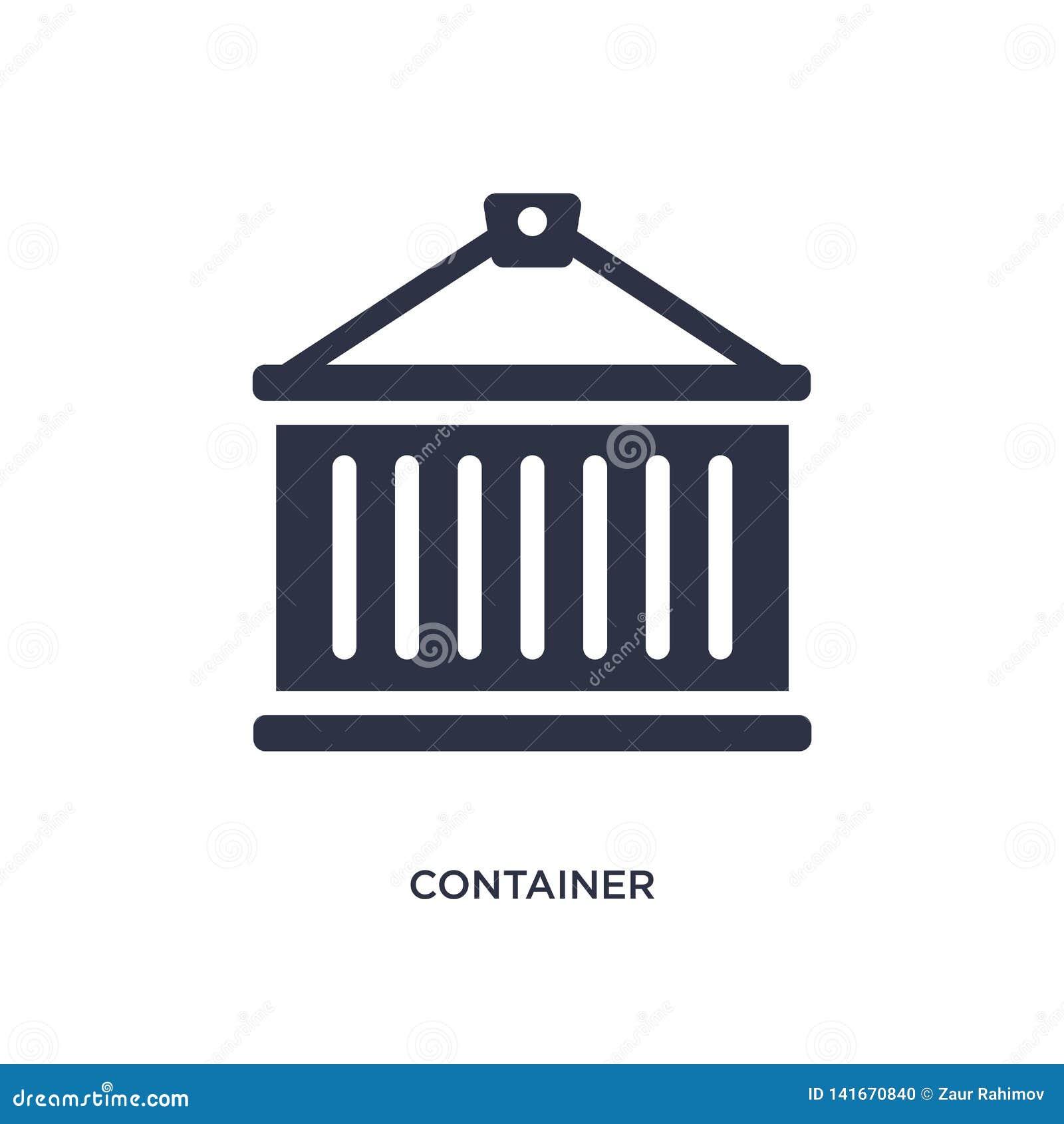 Containerpictogram op witte achtergrond Eenvoudige elementenillustratie van levering en logistisch concept