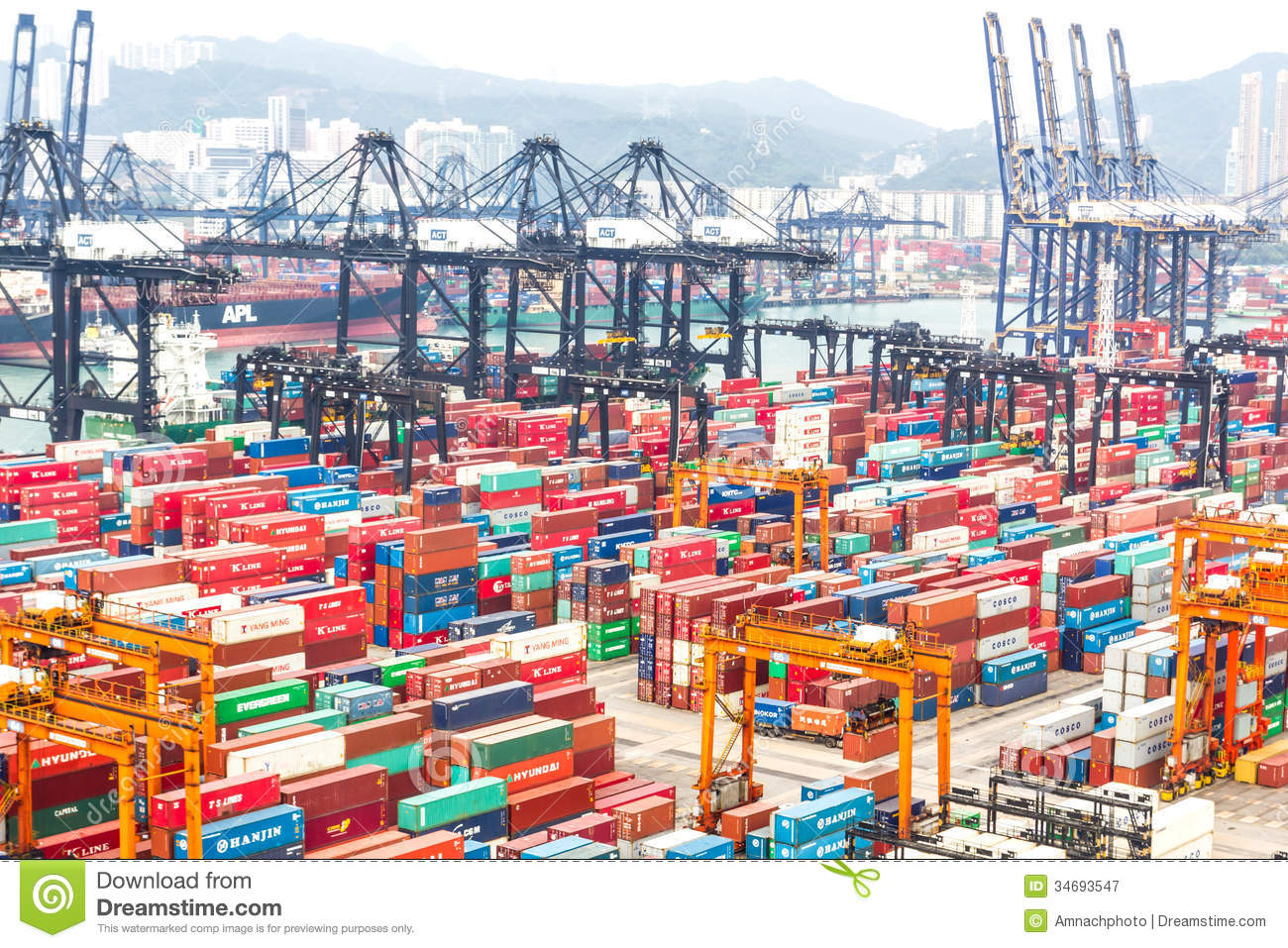 Containers At Hong Kong Commercial Port Editorial