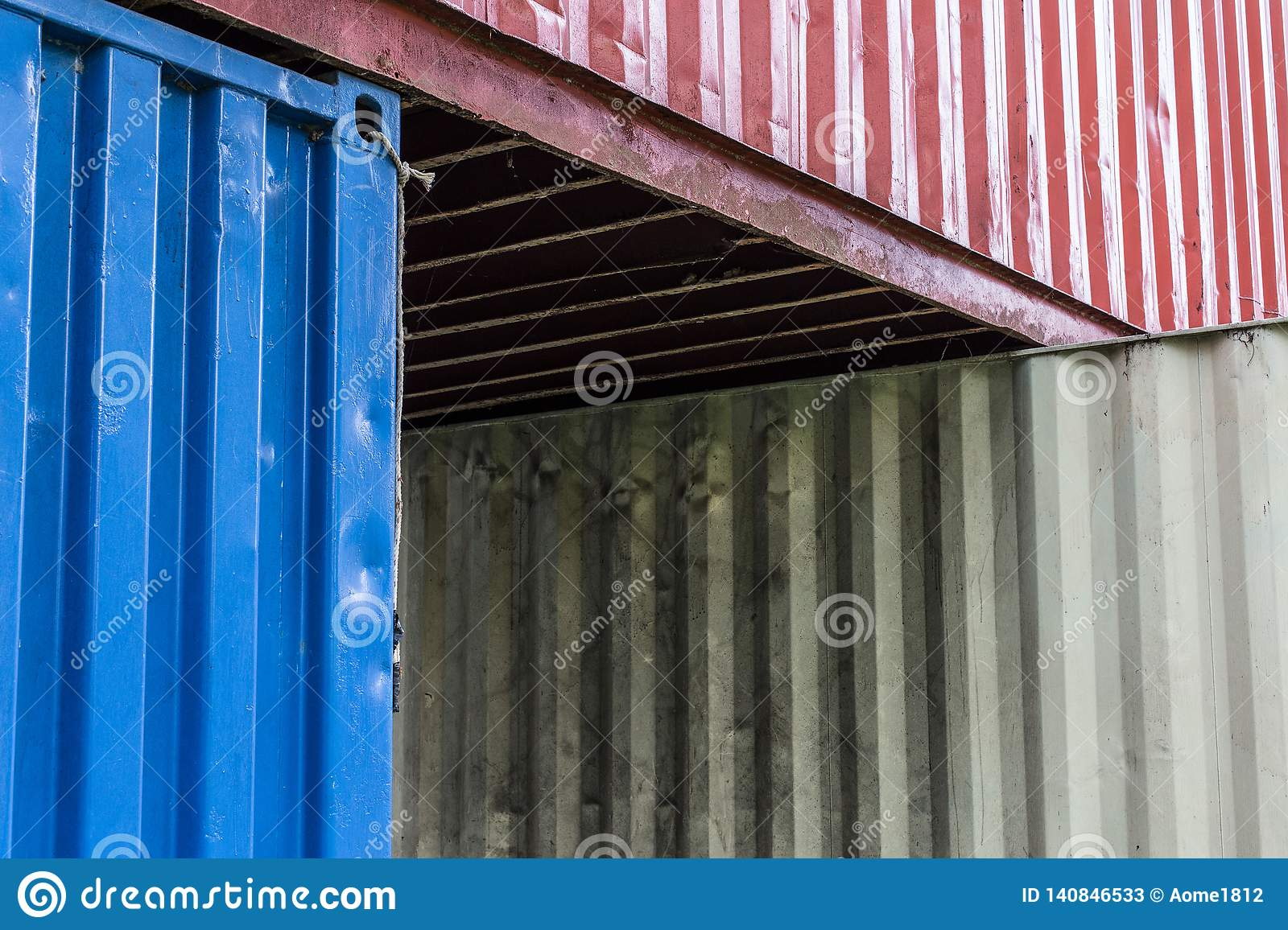 Containers are stacked
