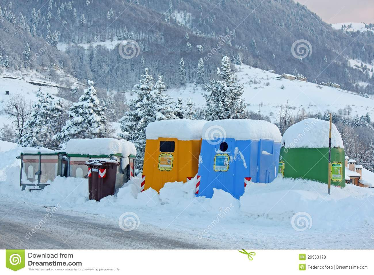 Containers and waste bins along the snow covered mountain road royalty free stock photos image - Rd wastebasket ...