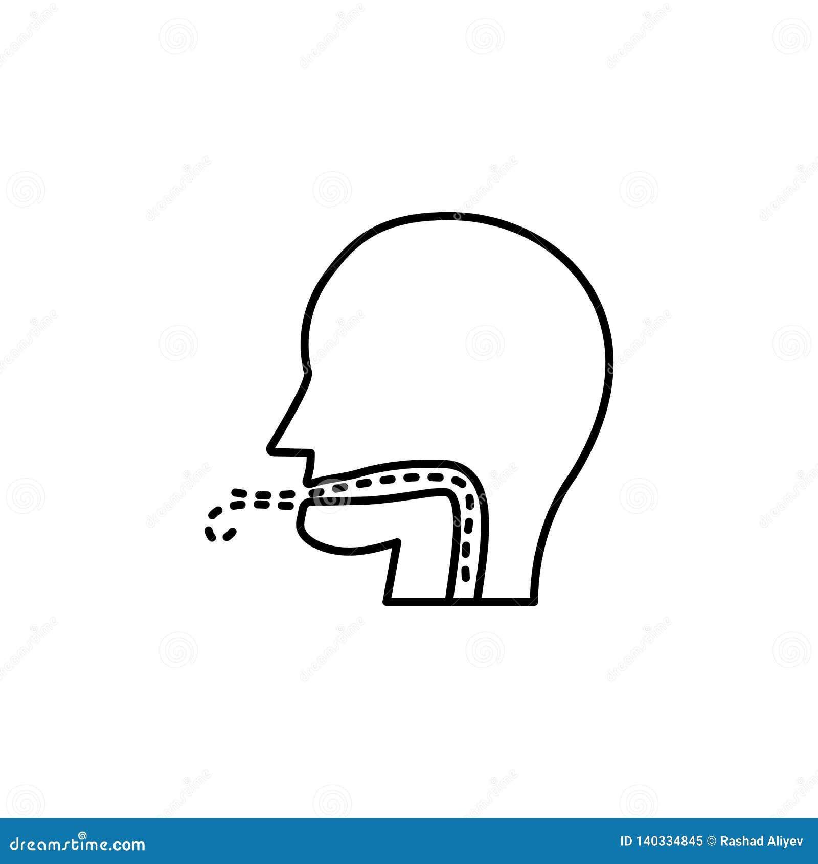 Contaminación atmosférica, enfermedad, icono respiratorio Elemento de la contaminación atmosférica para el concepto y el icono mó