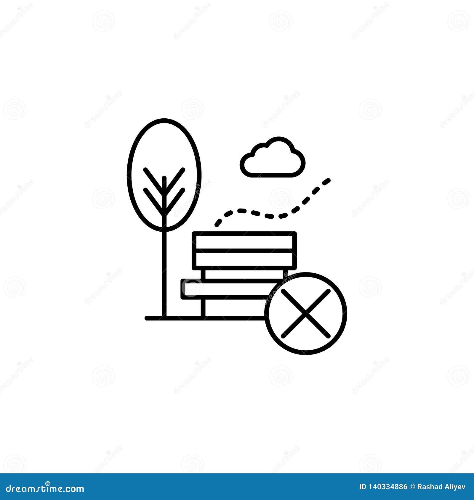 Contaminación atmosférica, no, icono del parque Elemento de la contaminación atmosférica para el concepto y el icono móviles de l