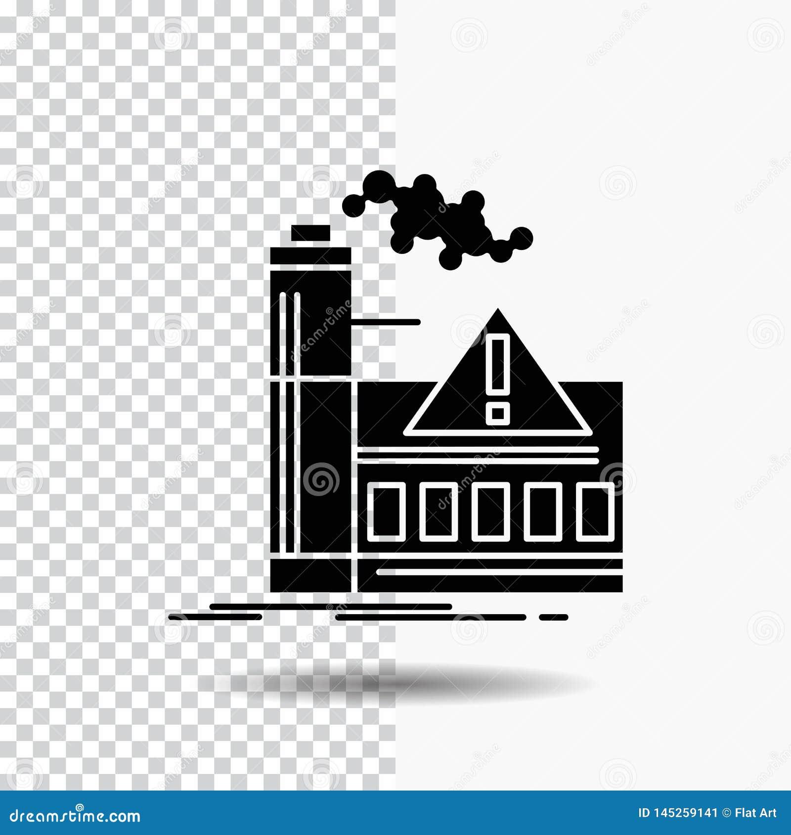 Contaminación, fábrica, aire, alarma, icono del Glyph de la industria en fondo transparente Icono negro