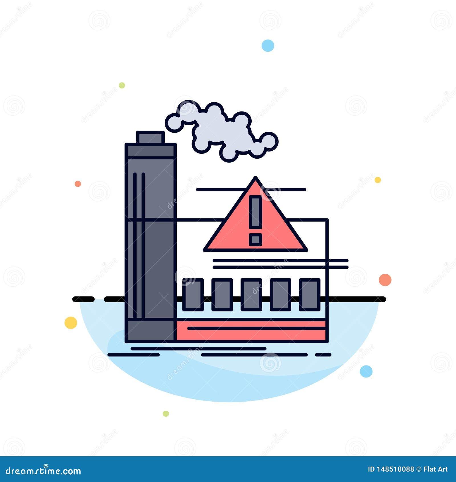 Contaminación, fábrica, aire, alarma, vector plano del icono del color de la industria