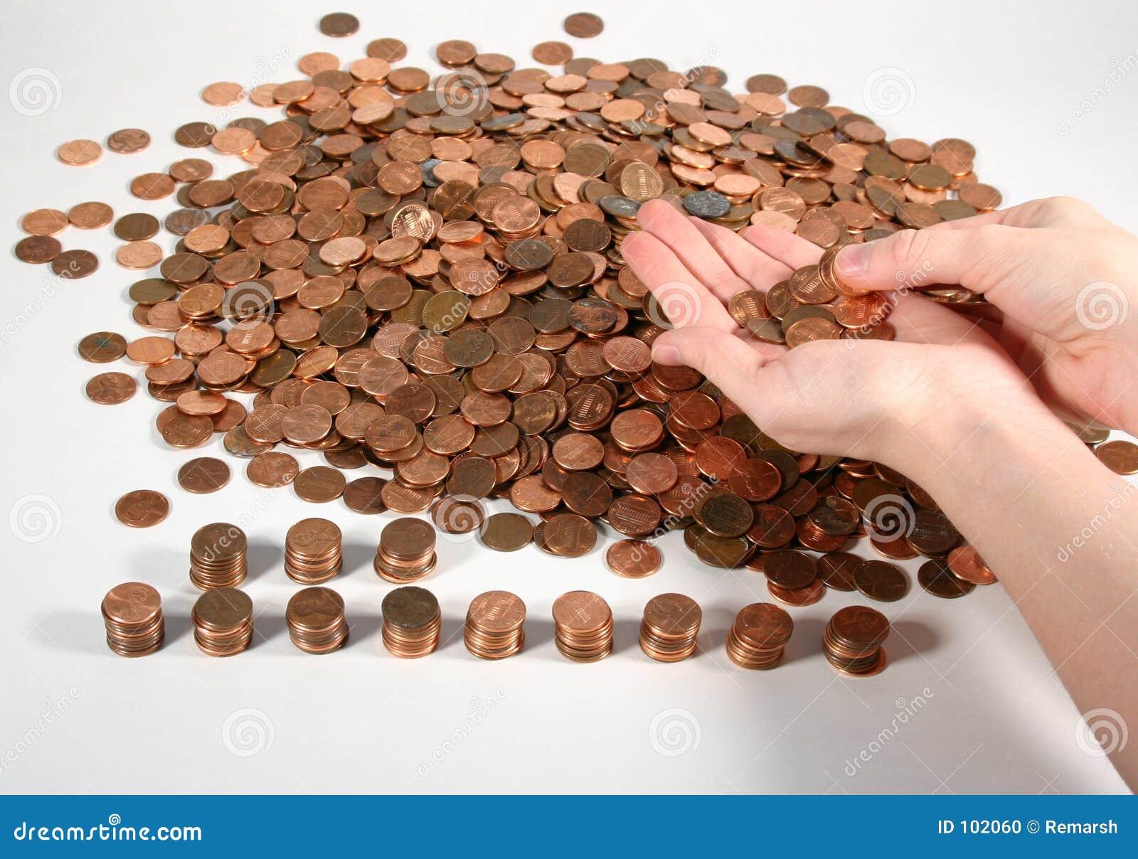 Contando moedas de um centavo