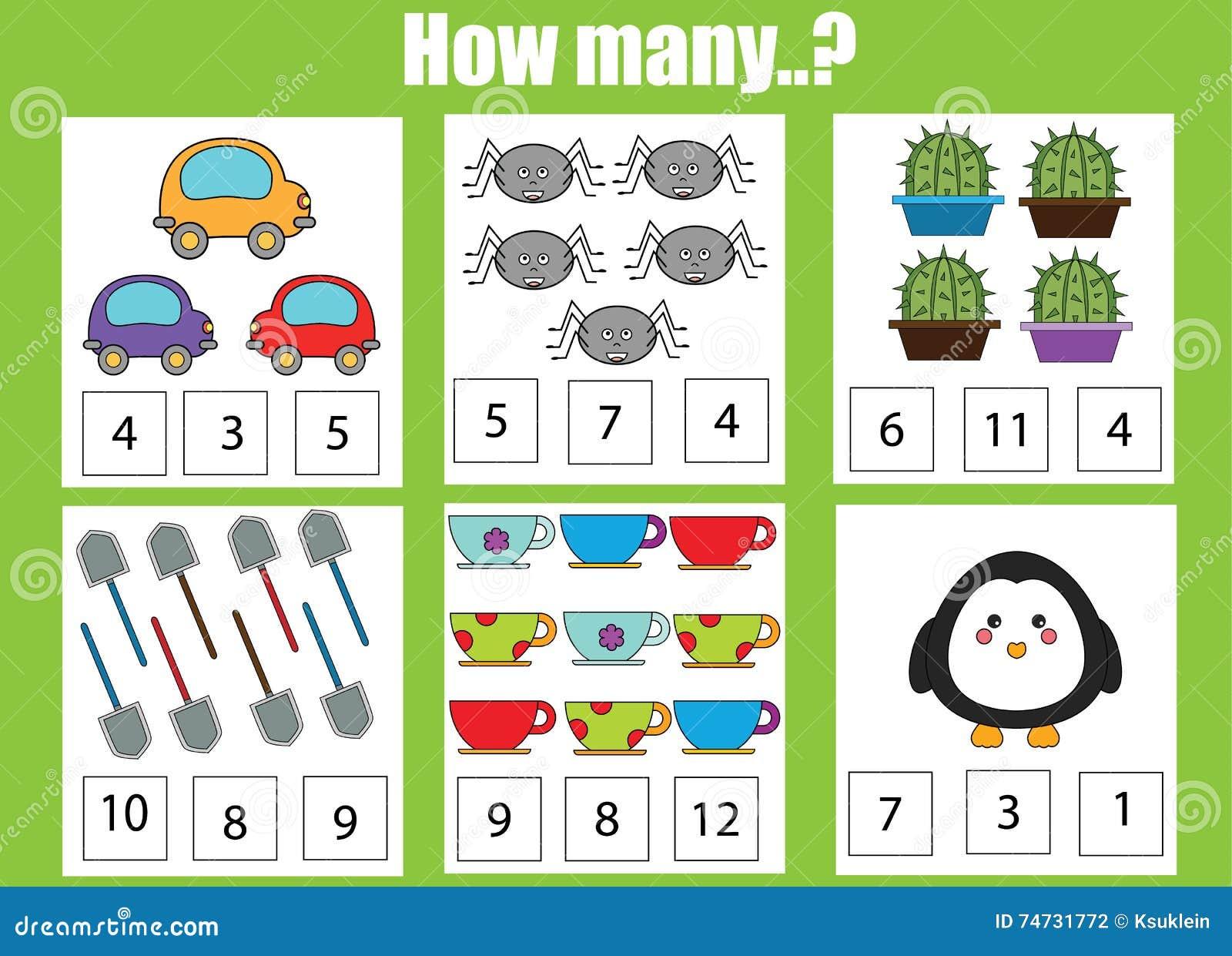 Contando o jogo educacional das crianças, atividade das crianças Quantos objetos se encarregam