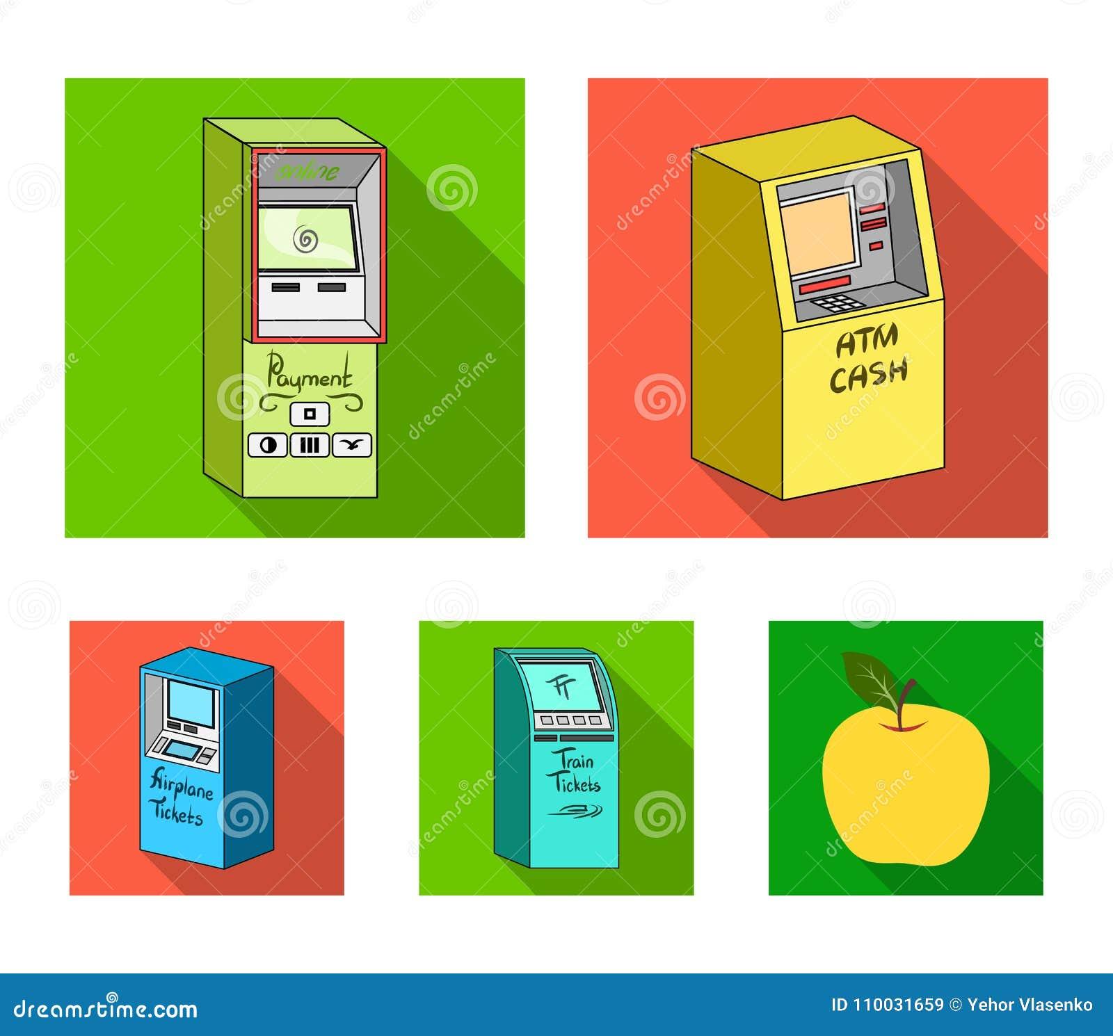 Contant geldmachine voor contant geld, terminal voor betaling, kaartjesmachine Terminals geplaatst inzamelingspictogrammen in vla