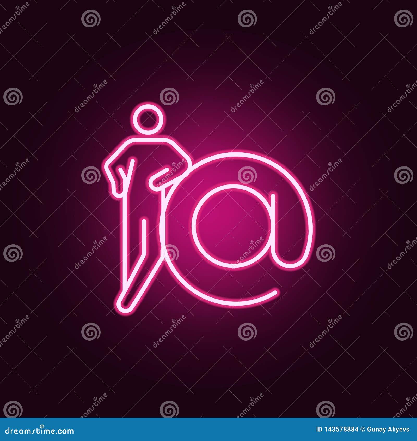 Contato, ícone de néon do e-formulário Elementos das figuras conceptuais ajustadas Ícone simples para Web site, design web, app m