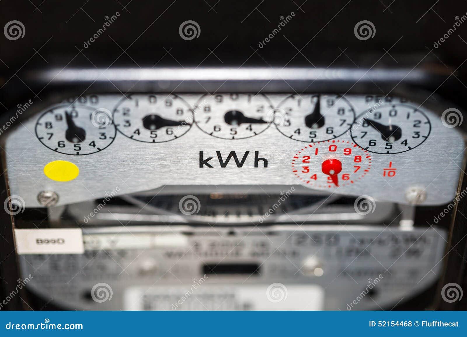 Contatore elettrico e quadranti di KWH