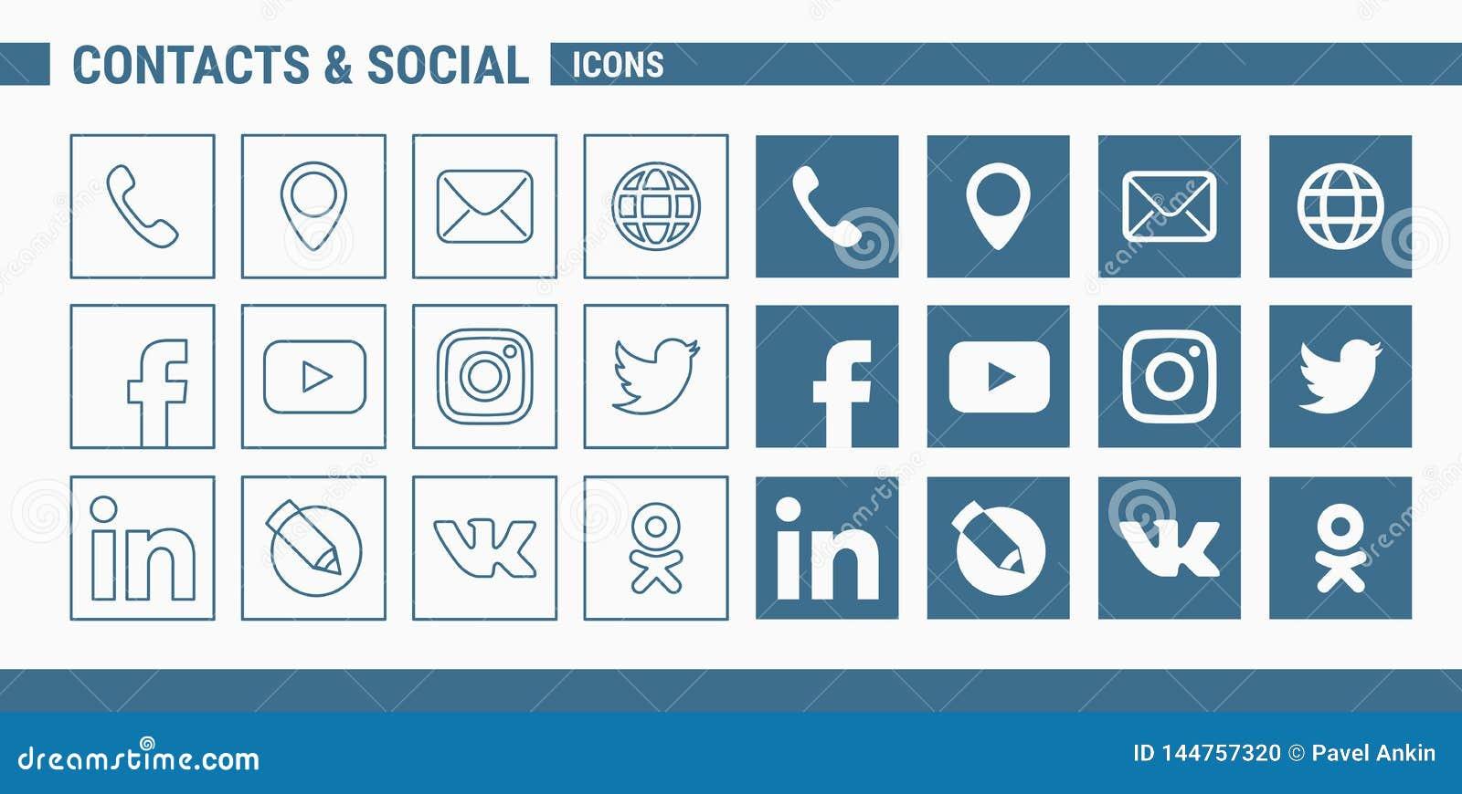 Contatos & ícones sociais - Web do grupo & móbil 01