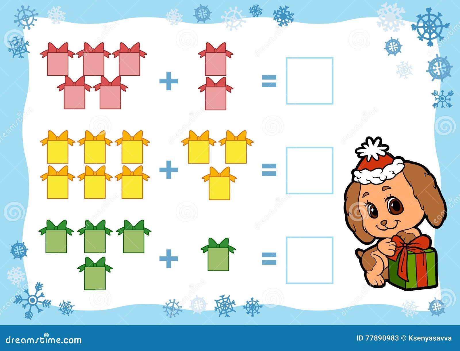 Regali Di Natale Per Bambini Asilo.Conteggio Del Gioco Per I Bambini Fogli Di Lavoro Dell Aggiunta