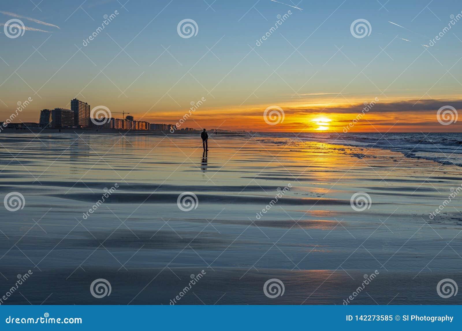 Contemplation de plage d Ostende, Belgique