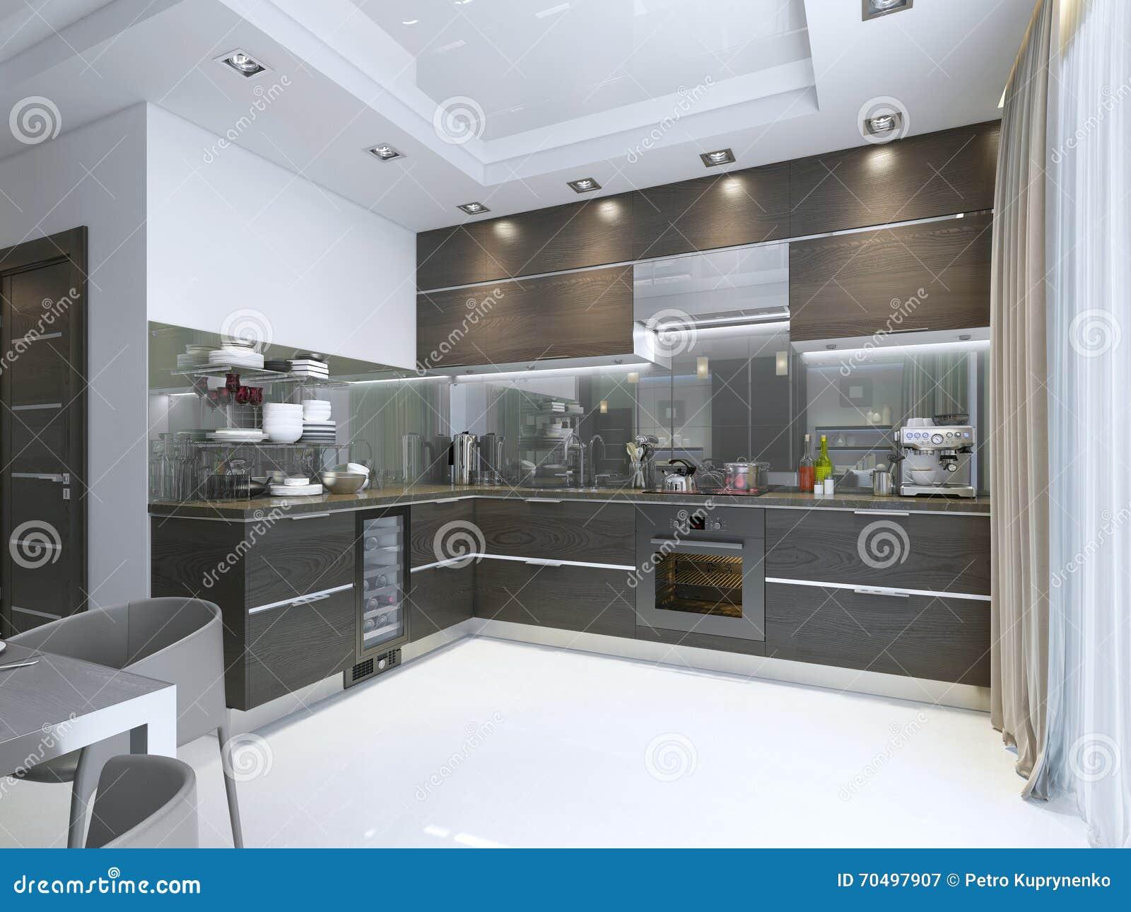 Contemporaneo della cucina nel marrone con i pavimenti di marmo