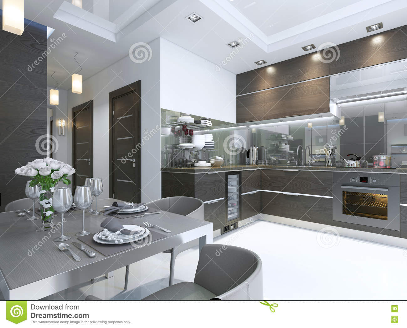 Contemporaneo della cucina nel marrone con i pavimenti di marmo bianchi e del parete - Pavimenti x cucina ...
