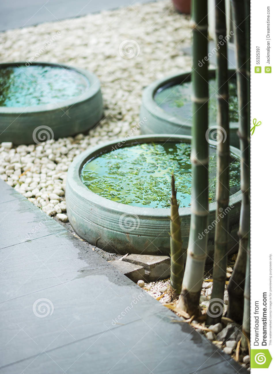 Download Contemporary Asian Tropical Garden Design Exterior Stock Image