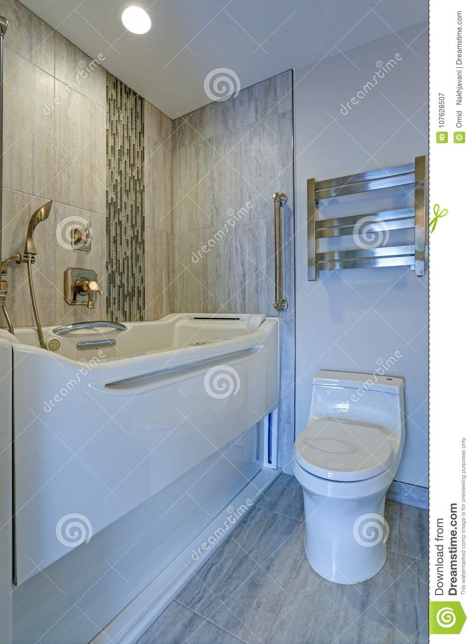 Contemporary Bathroom Design With Jacuzzi Walk-in Bathtub Stock ...