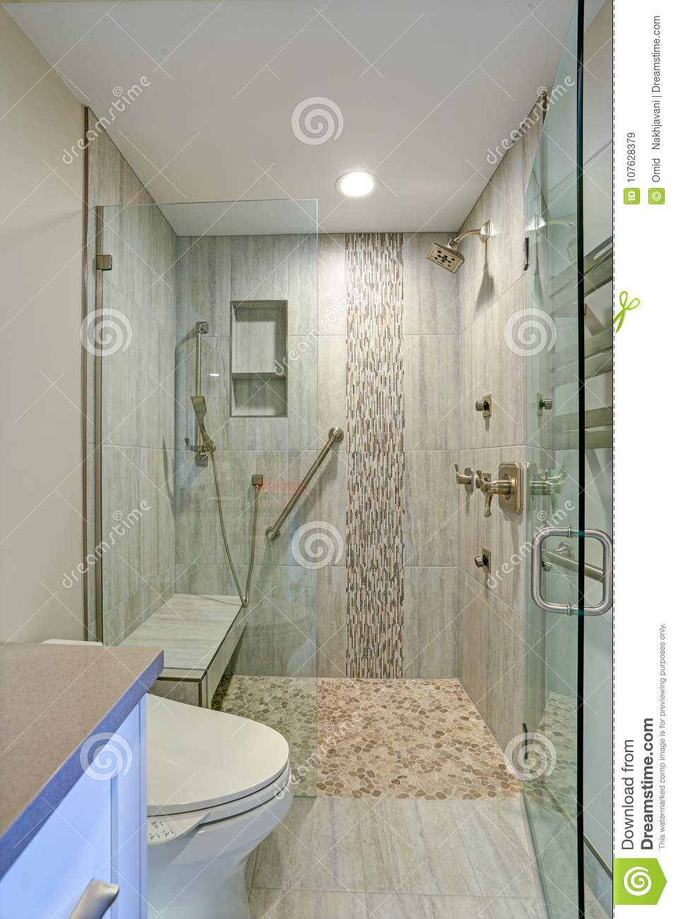 Contemporary Bathroom Design With Walk In Shower Stock