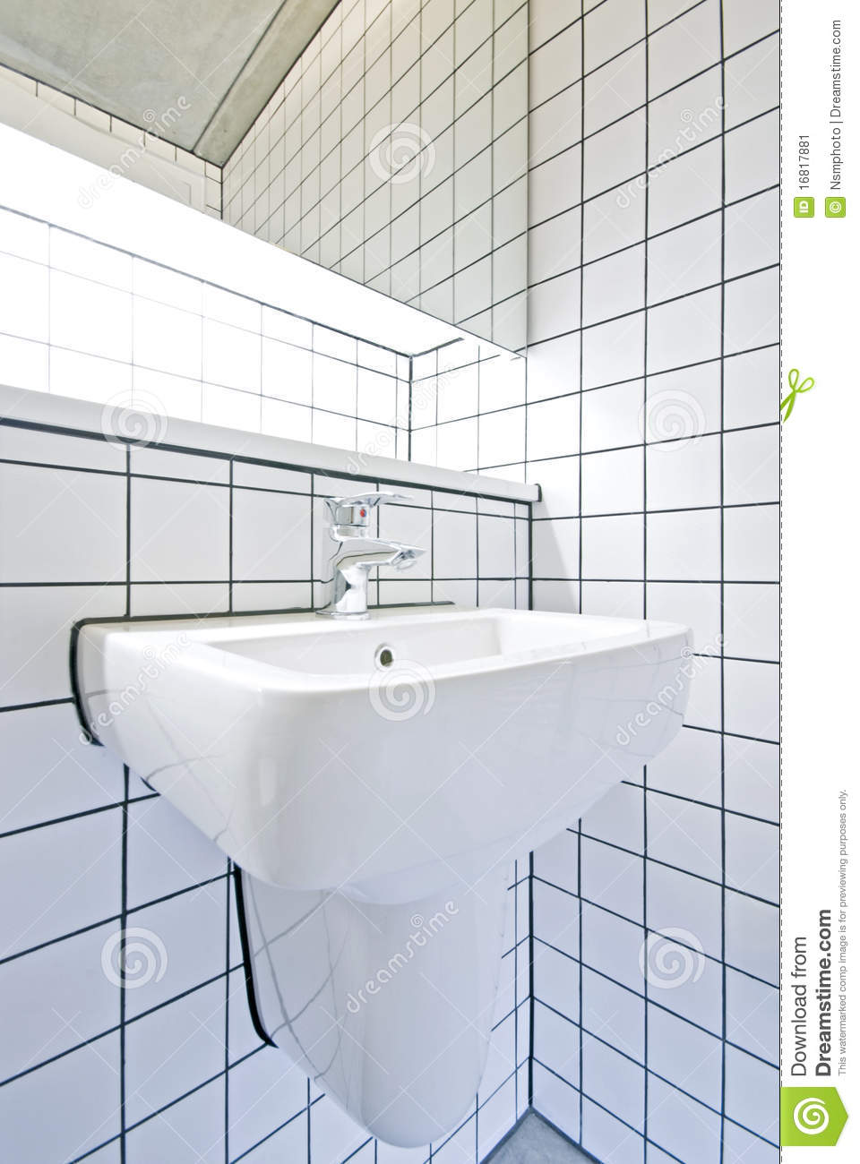 Contemporary bathroom detail with retro tiled wall stock for Detail in contemporary bathroom design