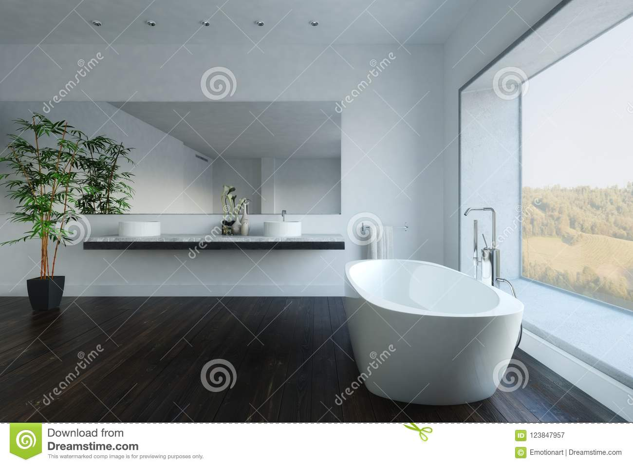 Contemporary Bathroom With Plant And Bathtub Stock Illustration ...