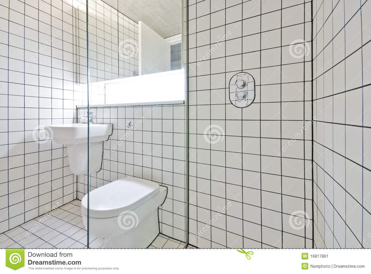 Contemporary Bathroom With Retro White Tiled Walls Stock Image ...