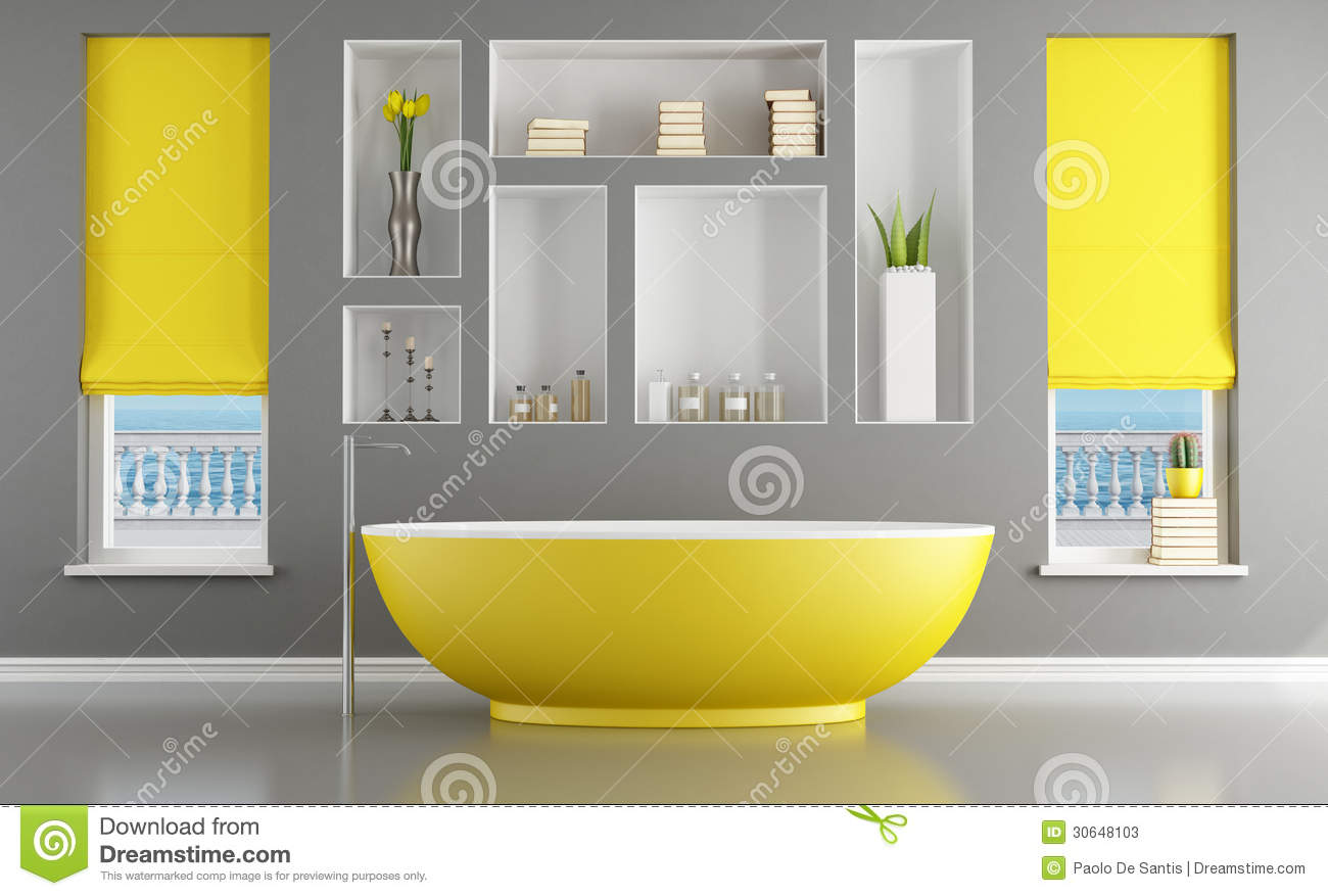 Contemporary bathroom with yellow bathtub stock for Salle de bain contemporaine