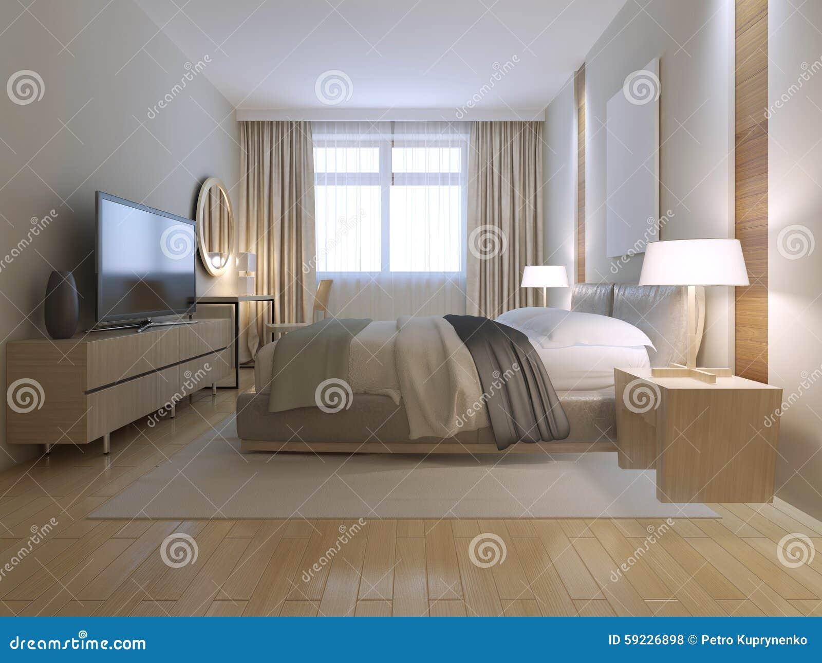 Contemporary Bedroom Design Stock Illustration