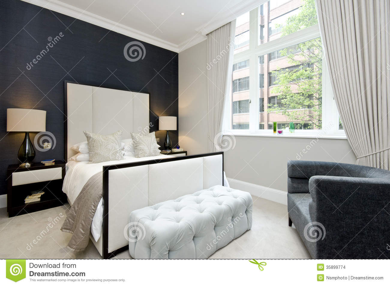 Contemporary bedroom with king size bed with luxury designer fur