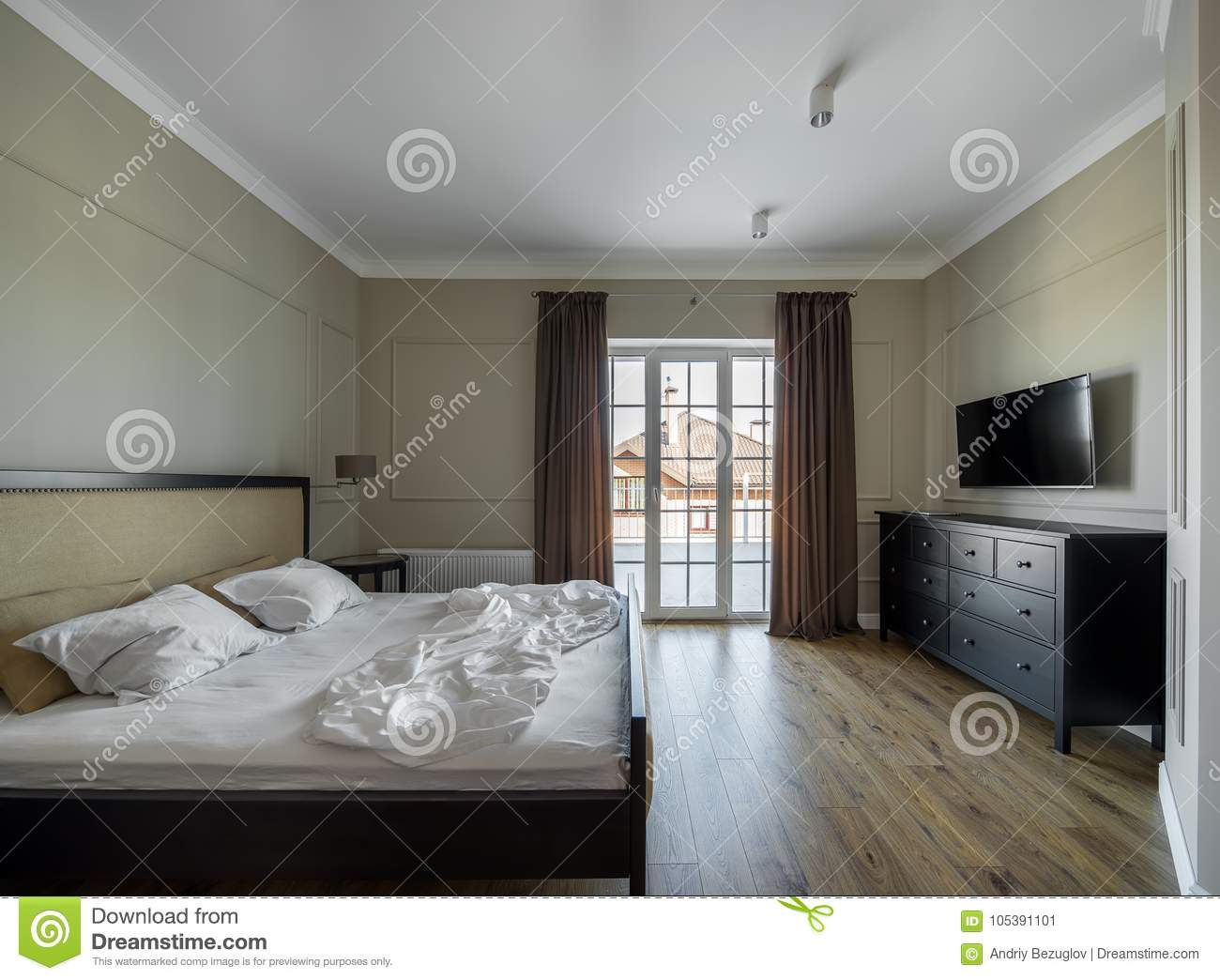 Bedroom in modern style stock image. Image of coverlet ...