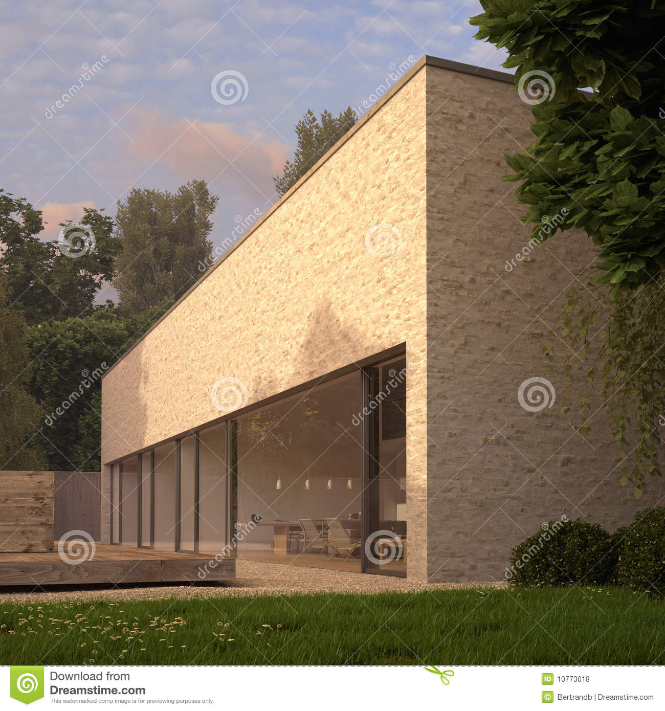 Contemporary Brick House With Garden Stock Illustration