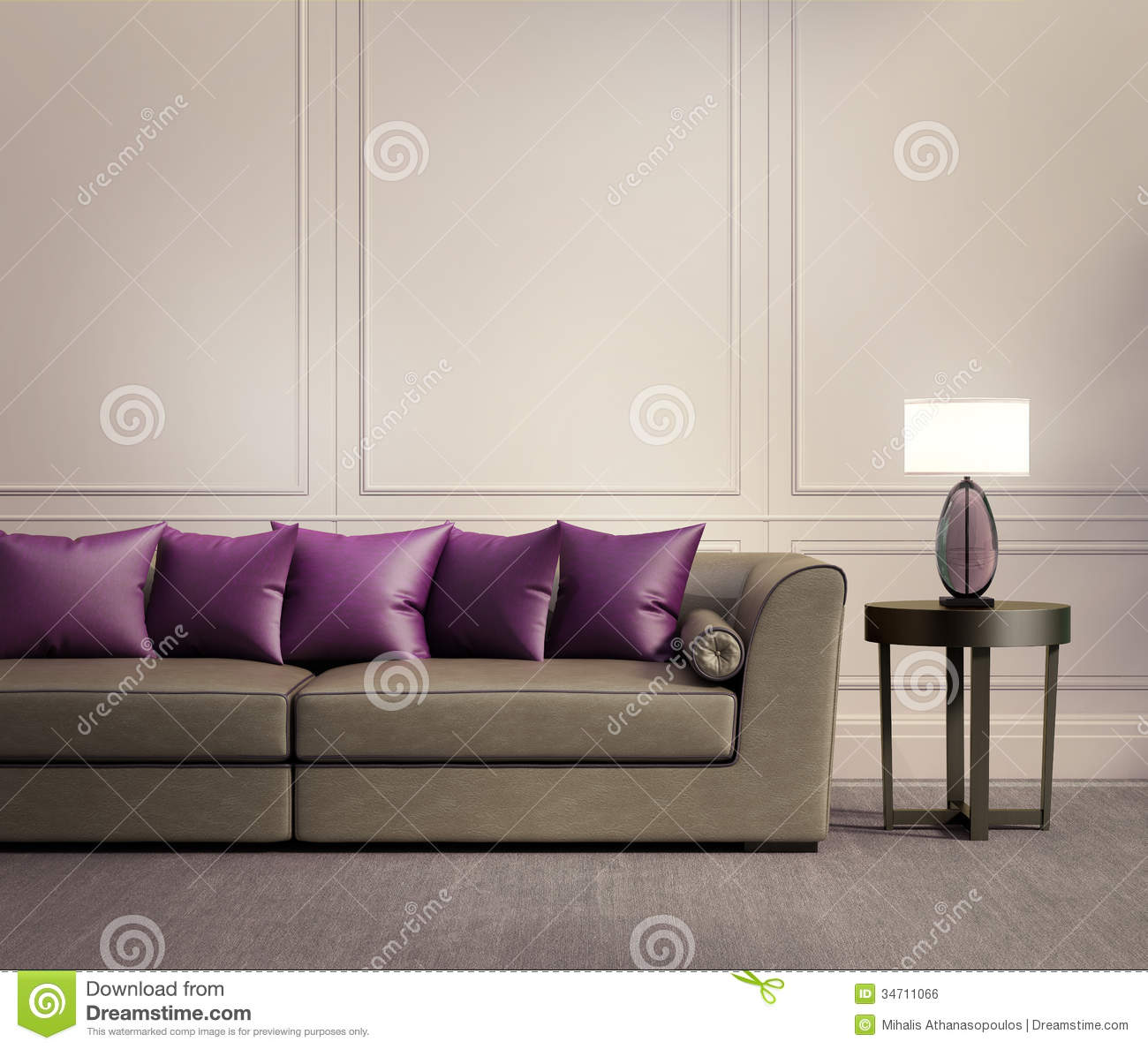 Contemporary classic living room beige leather sofa - Beige and purple living room ...