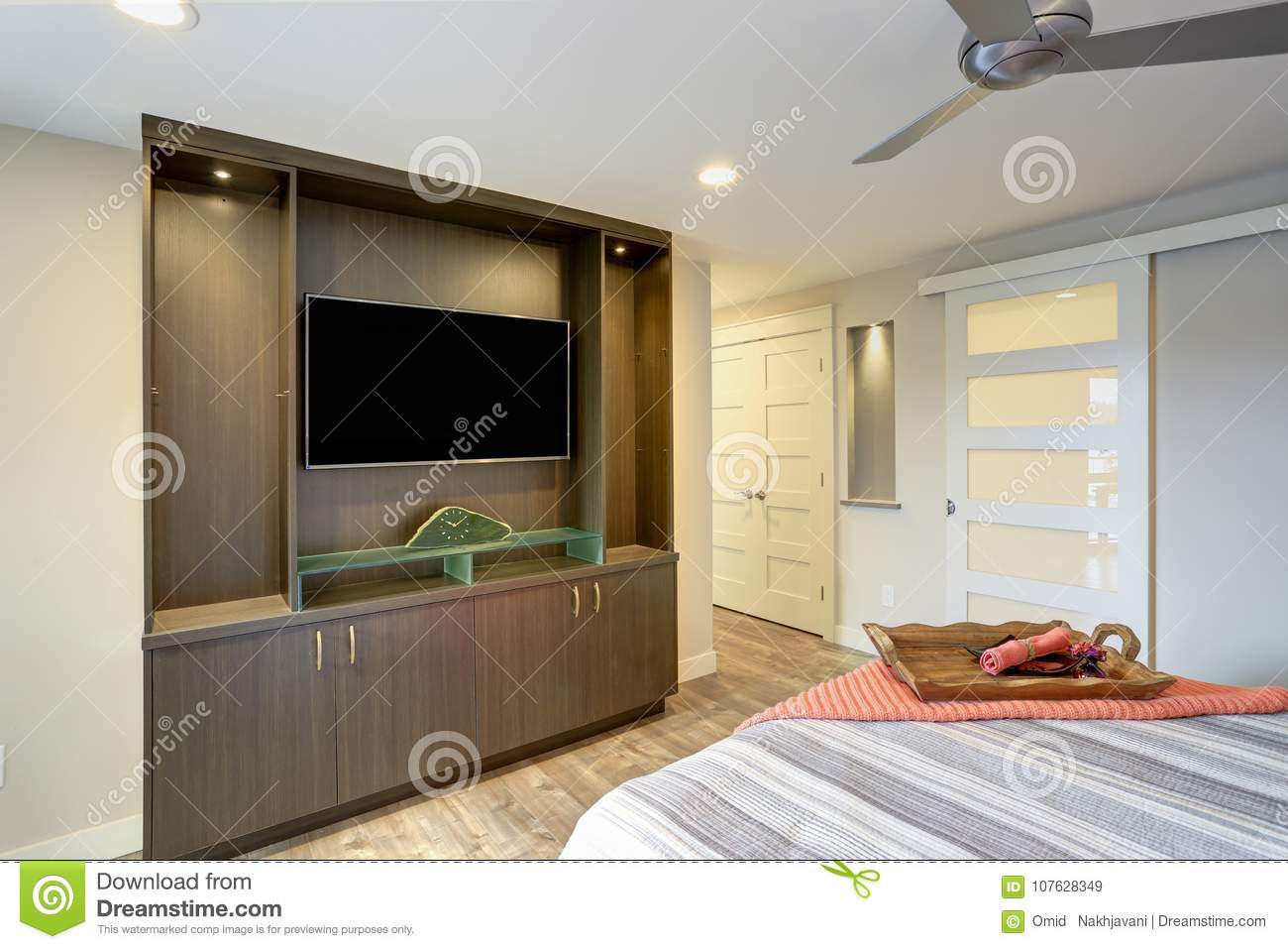 Contemporary Condo Home Bedroom Interior Stock Image Image Of Nightstand Clean 107628349