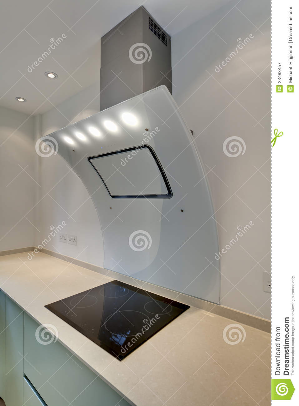 Contemporary kitchen designers - Striking Contemporary Glass Cooker Hood With Integral Lighting And