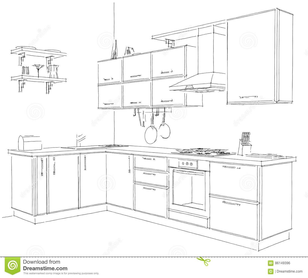 3d Sketch Small Kitchens And Islands: Contemporary Corner Kitchen Sketchy 3d Illustration. Black