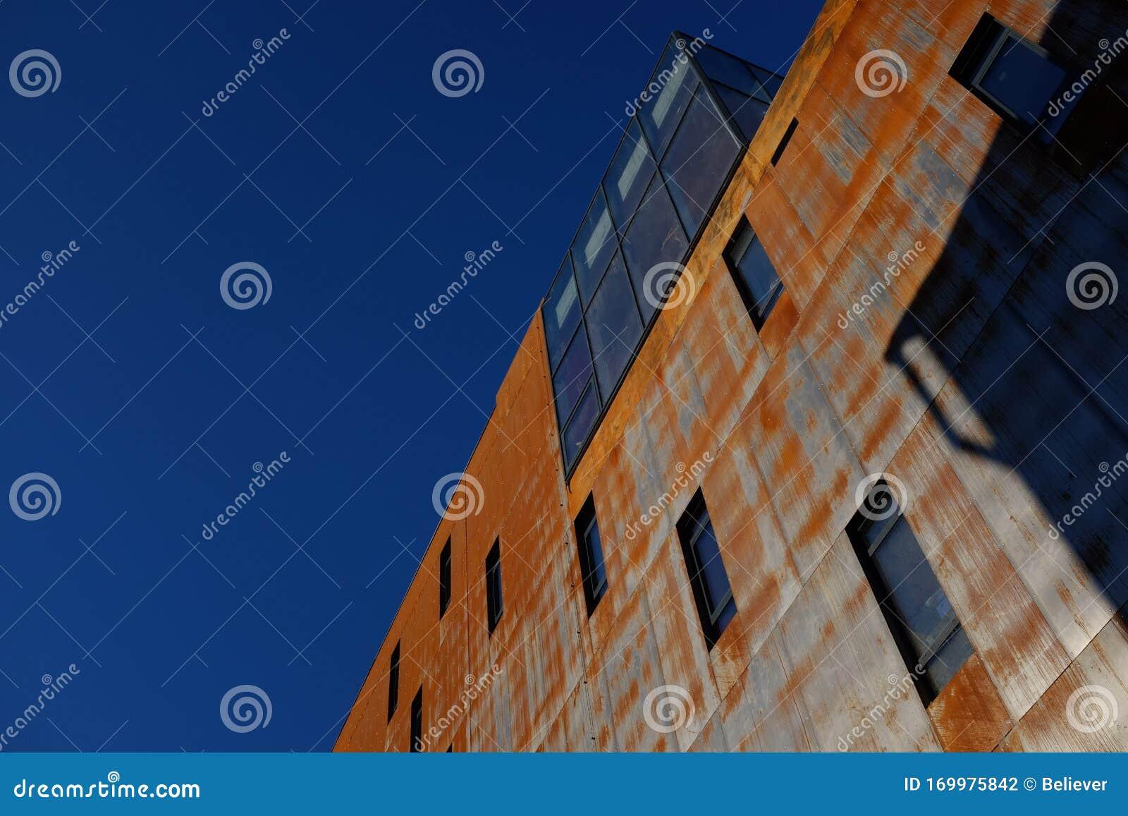 Corten Steel Modern Building Chorten Steel Against Blue Sky A