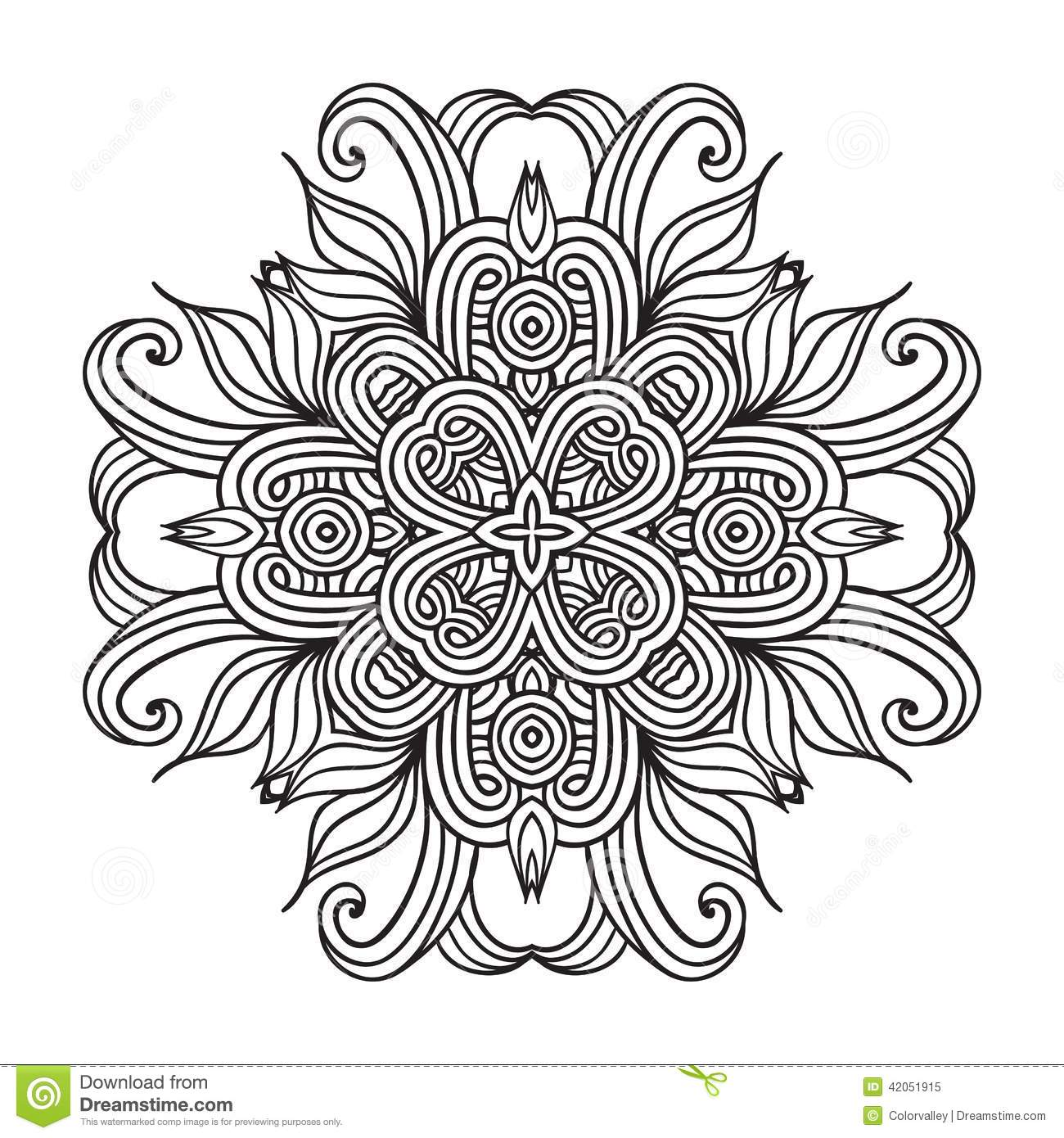 floral pattern coloring pages - contemporary doily round lace floral pattern stock vector